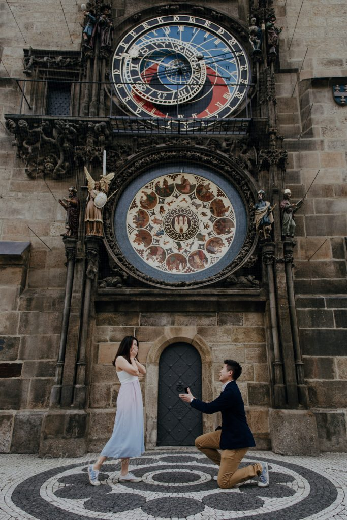 Old Town Astronomical Clock Marriage Proposal Prague
