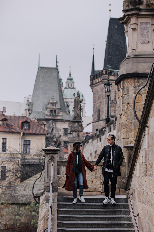 Prague Charles Bridge Stairs